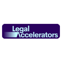 Logo Legal Accelerators - blue rectangle on white background